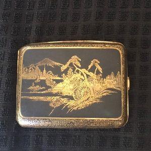 Vintage Fancy 1930 Japanese Niello cigarette case
